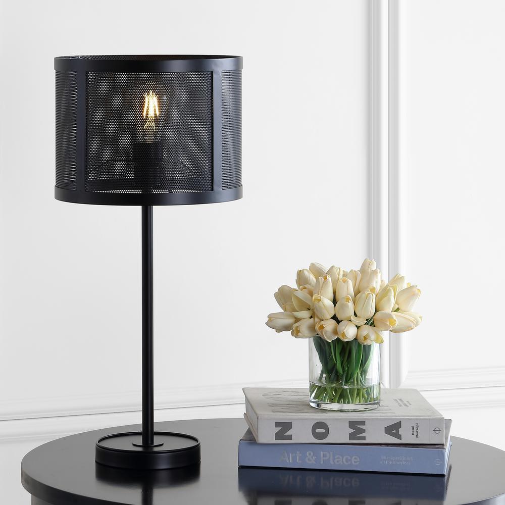 Wilcox 25 in. Black Minimalist Metal LED Table Lamp