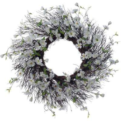 Spring Collection 26 in. White Apple Blossom Wreath (1-Pack)