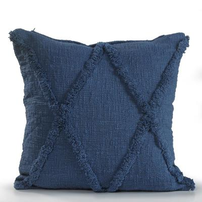 Criss Coss Royal Blue Geometric Hypoallergenic Polyester 18 in. x 18 in. Throw Pillow
