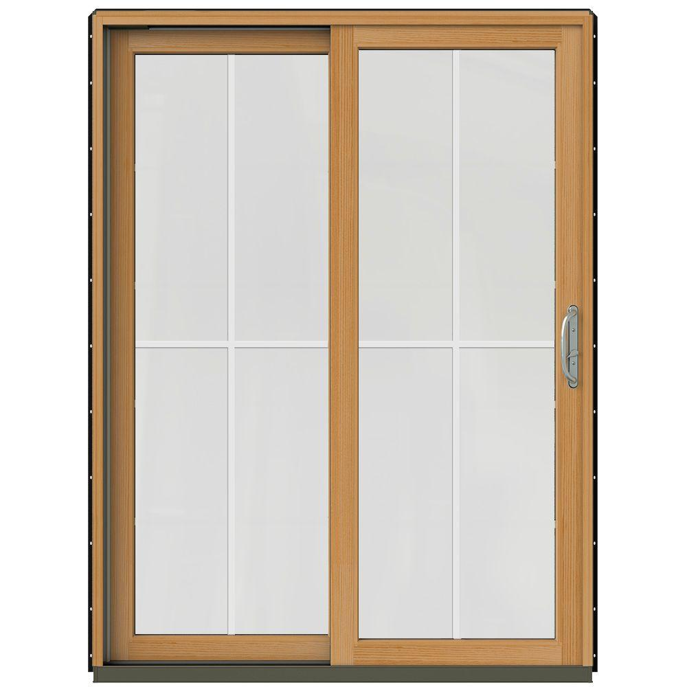 Jeld wen 59 1 4 in x 79 1 2 in w 2500 black prehung left Sliding wood patio doors