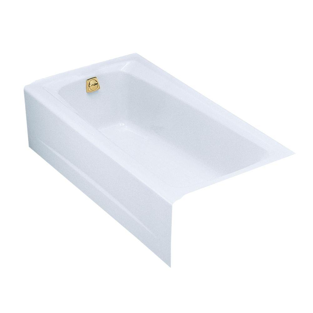KOHLER Mendota 5 ft. Left-Hand Drain Rectangular Alcove Soaking Tub in White