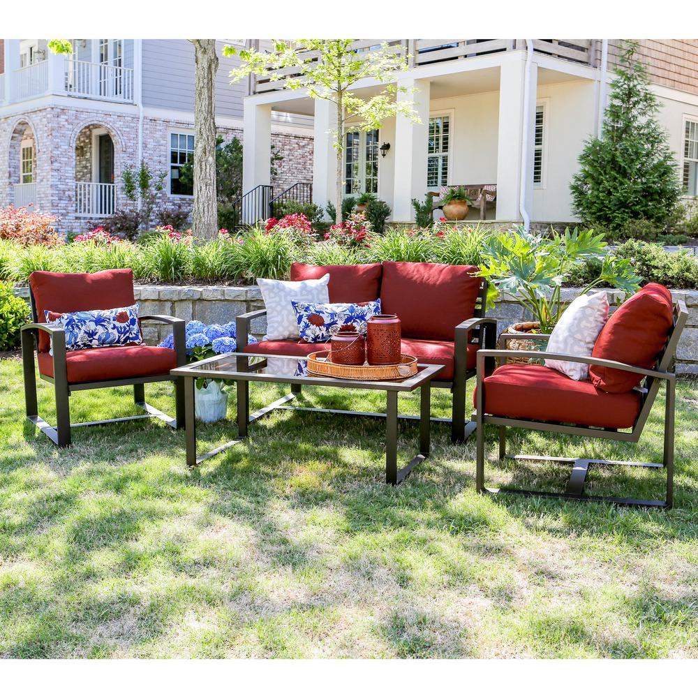 Good Jasper 4 Piece Aluminum Patio Conversation Set With Red Cushions