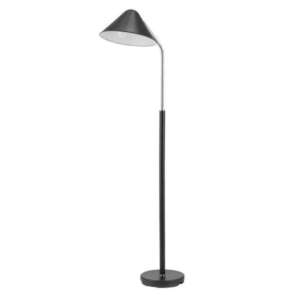 Hayes 63 in. Matte Black Floor Lamp with Chrome Accent and Mushroom Shade