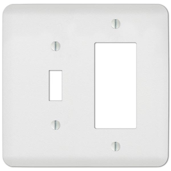 Perry 2 Gang 1-Toggle and 1-Rocker Steel Wall Plate - White