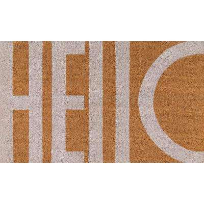 Hello White 18 in. x 30 in. Door Mat