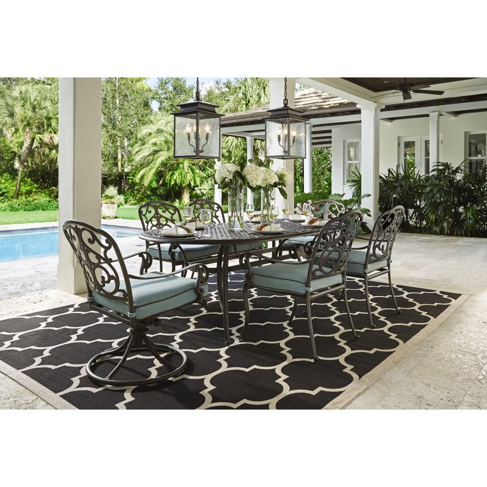 Home Decorators Collection Outdoor Madrid 7-Piece Patio Dining Set in Bronze and Bermuda