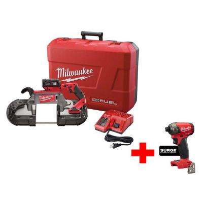 M18 FUEL 18-Volt Lithium-Ion Brushless Cordless Brushless Deep Cut Band Saw Kit with Free M18 Surge Impact Driver