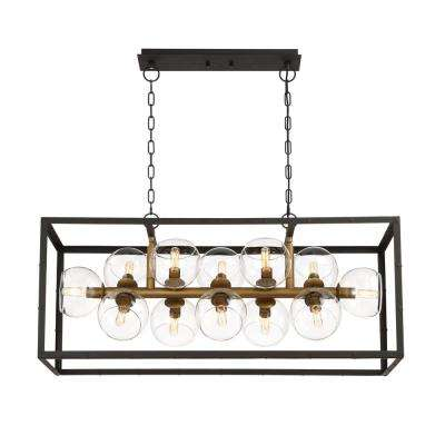 Bentley Collection 12-Light Black Chandelier with Bronze Shade