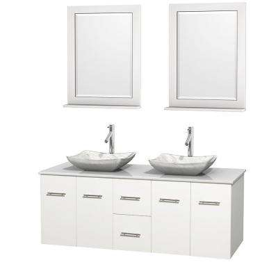 Centra 60 in. Double Vanity in White with Solid-Surface Vanity Top in White, Carrara Marble Sinks and 24 in. Mirrors