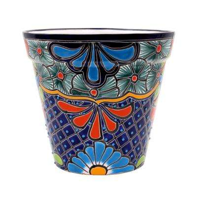 Talavera 10 in. Blue Ceramic Vase Planter