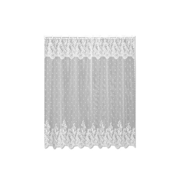 Floret 72 in. W x 72 in. L White Lace Shower Curtain
