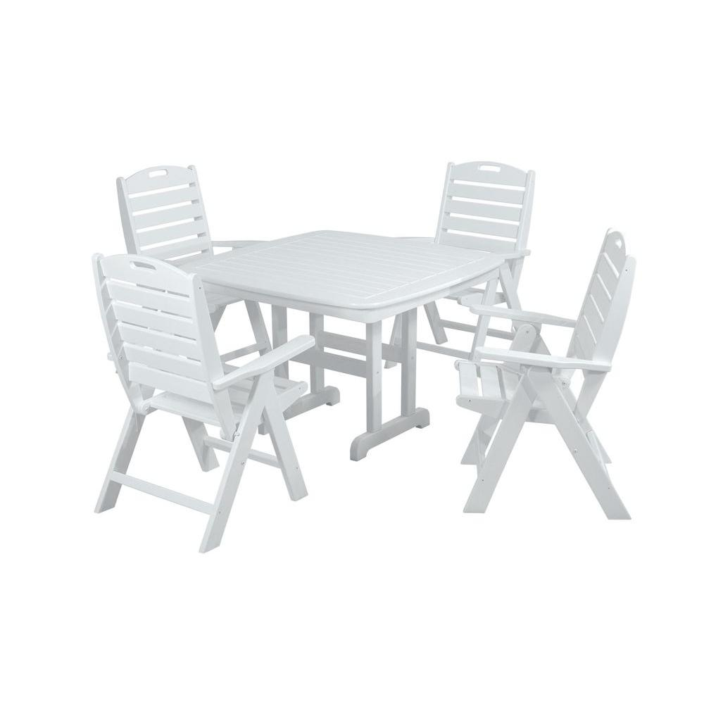 Nautical White 5-Piece Plastic Outdoor Patio Dining Set