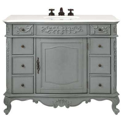 Winslow 45 in. W Vanity in Antique Grey with Marble Vanity Top in White with White Basin