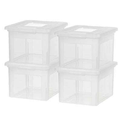 35 Qt. Dual Purpose Letter and Legal-Size File Storage Box in Clear (4-Pack)