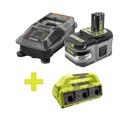 18-Volt ONE+ Lithium-Ion LITHIUM+ HP 6.0 Ah Starter Kit w/ Bonus ONE+ 6-Port Dual Chemistry IntelliPort Super Charger