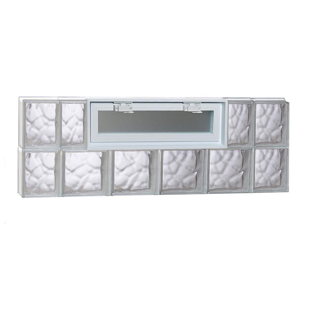 Clearly Secure 42.5 in. x 15.5 in. x 3.125 in. Frameless Wave Pattern Vented Glass Block Window
