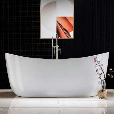 Padova 71 in. Acrylic Freestanding Double Slipper Whirlpool and Air Bathtub with Drain and Overflow Included in White