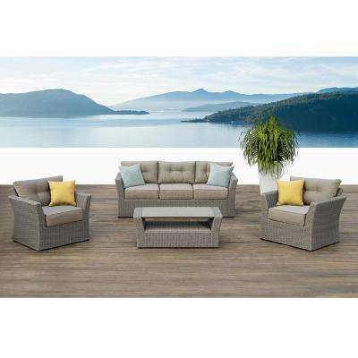 Isabella Gray 4-Piece Aluminum Patio Conversation Set with Green and Yellow Cushions