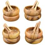 4 in. 16-Piece Wooden Round Dip and Nut Bowl Set with Spoons