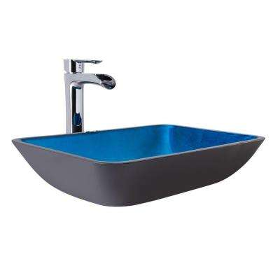 Vessel Sink in Turquoise Water and Niko Faucet Set in Chrome