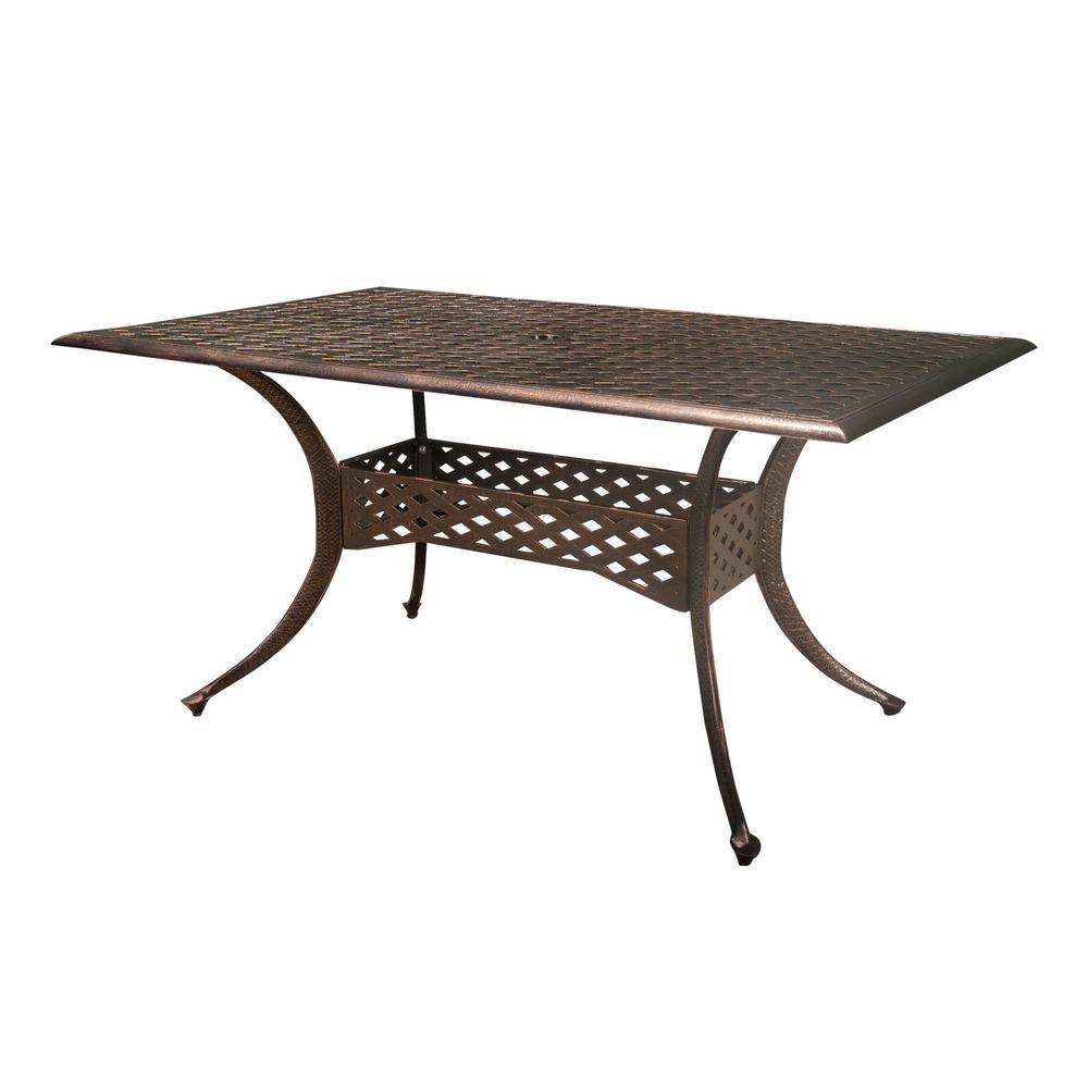 Kyree Shiny Copper Rectangular Cast Aluminum Outdoor Dining Table