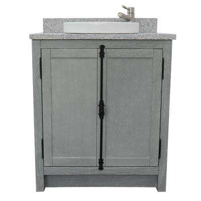 Plantation 31 in. W x 22 in. D Bath Vanity in Gray with Granite Vanity Top in Gray with White Round Basin