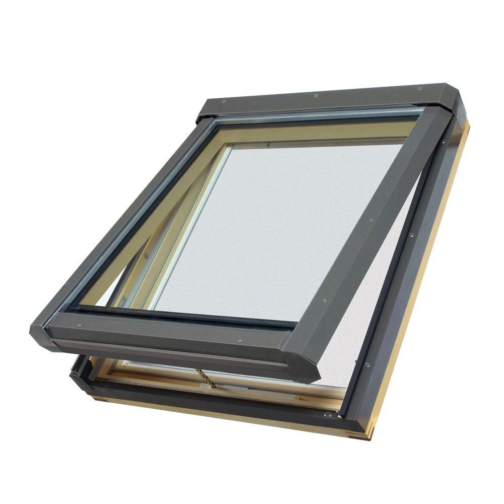 Fakro FV301T - 22-1/2 in x 26-1/2 in. Manual Venting Deck Mount Skylight with Tempered LowE Glass