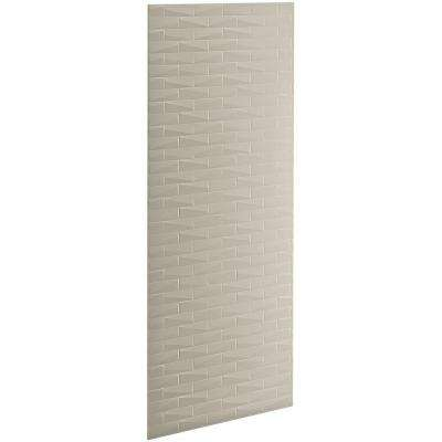Choreograph 0.3125 in. x 32 in. x 96 in. 1-Piece Shower Wall Panel in Sandbar with Brick Texture for 96 in. Showers