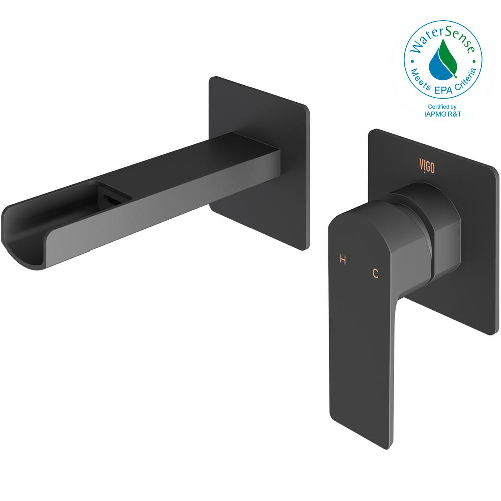 Atticus Single-Handle Wall Mount Bathroom Faucet in Matte Black