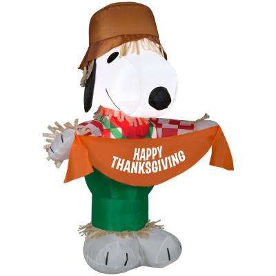 3.5 ft. H Inflatable Airblown-Snoopy as Scarecrow-SM-Peanuts