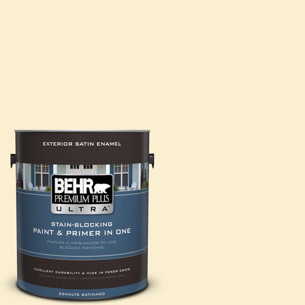 BEHR Premium Plus Ultra 1-gal. #370C-2 Custard Cream Satin Enamel Exterior Paint