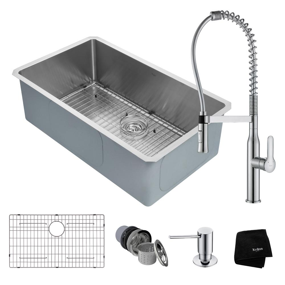 KRAUS Handmade All-in-One Undermount Stainless Steel 32 in. Single Bowl Kitchen Sink with Faucet in Chrome
