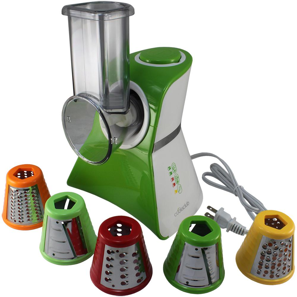 Salad Maker Food Processor, Green Salad maker mini food processor and produce shooter. Shipping with 5 different blades, this counter-top appliance features an easy-to-use On/Auto-Off switch. All food-contact surfaces are conveniently removable and dishwasher safe. Color: GREEN.