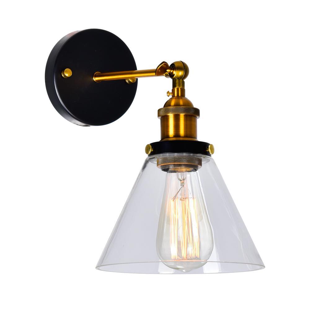 Eustis 1-Light Black and Gold Brass Sconce