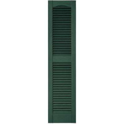 12 in. x 52 in. Louvered Vinyl Exterior Shutters Pair in #028 Forest Green