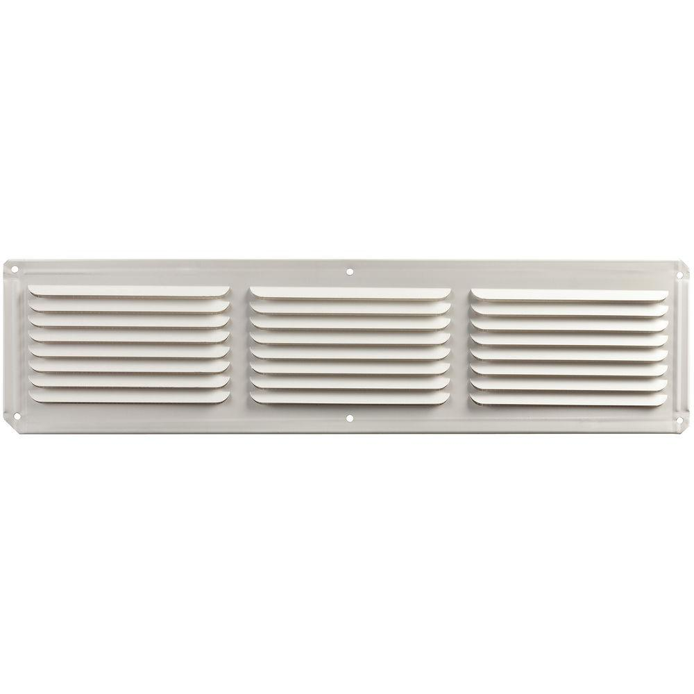 Aluminum Under Eave Soffit Vent in White. Master Flow 16 in  x 4 in  Aluminum Under Eave Soffit Vent in