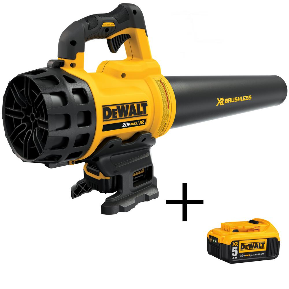 DEWALT 20-Volt MAX Lithium-Ion Cordless 90 MPH 400 CFM Handheld Leaf Blower with Bonus 20-Volt MAX Li-Ion Battery Pack 5.0 Ah