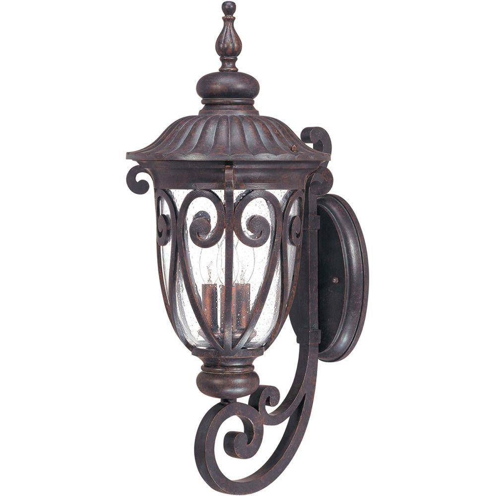 Glomar 3-Light Outdoor Burlwood Large Wall Lantern Arm Up with Seeded Glass