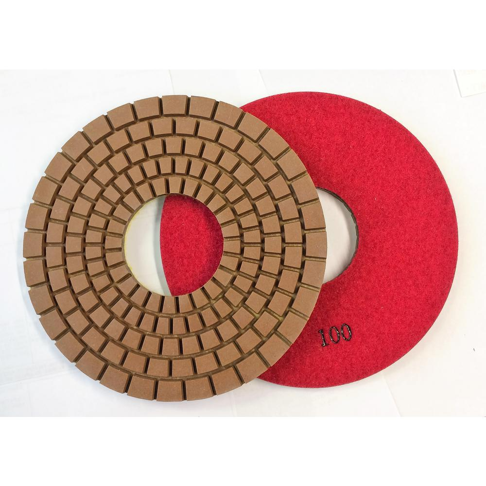 Con-Shine 7 in. Dry/Wet Diamond Polishing Pads Grit 100 Grit