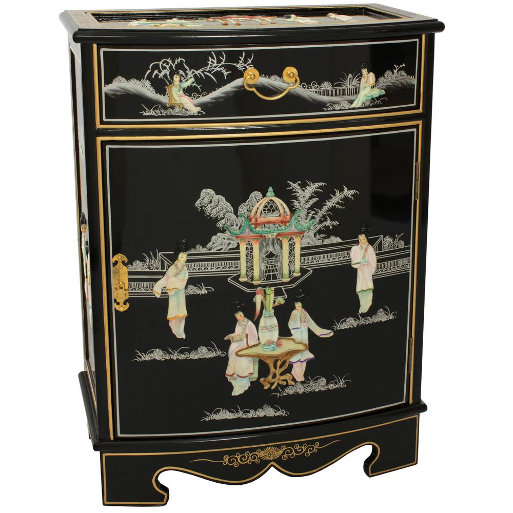 Oriental Furniture Black Lacquer Oval Front Shoe Cabinet