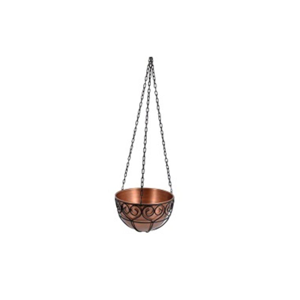 14 in. x 8 in. Antique Copper Round Metal Hanging Planter
