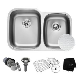 Kraus Outlast Microshield Undermount Stainless Steel 32 inch 60/40 Double Bowl Kitchen Sink Kit by KRAUS