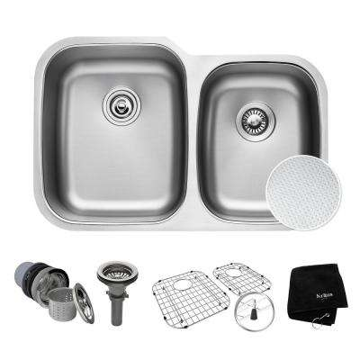 Outlast Microshield Undermount Stainless Steel 32 in. 60/40 Double Basin Kitchen Sink Kit