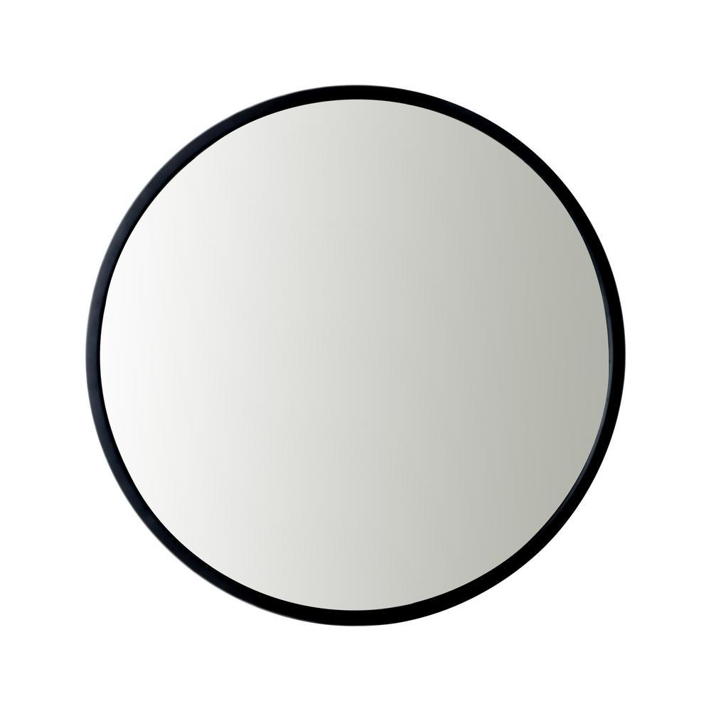 Medium Round Black Modern Mirror (24 in. H x 24 in. W)