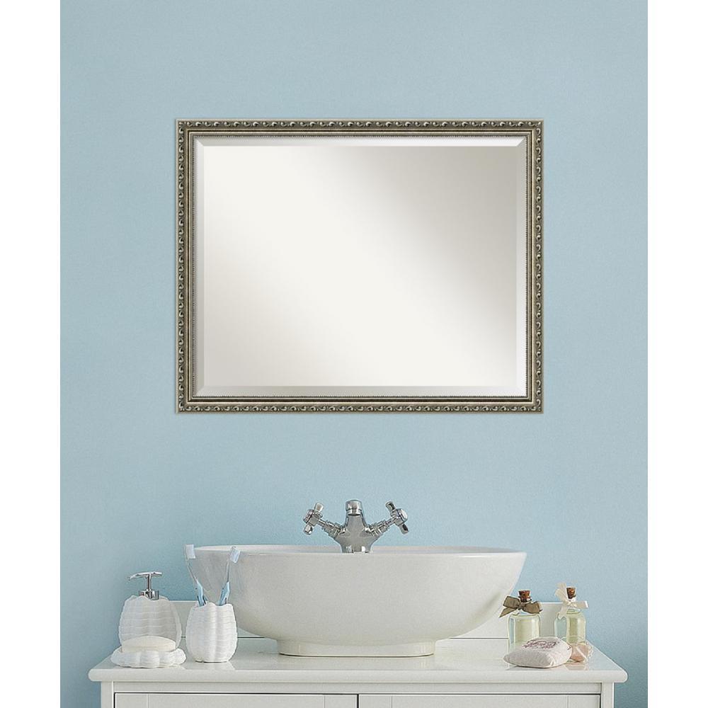 Parisian Silver Wood 31 in. W x 25 in. H Traditional Bathroom Vanity Mirror
