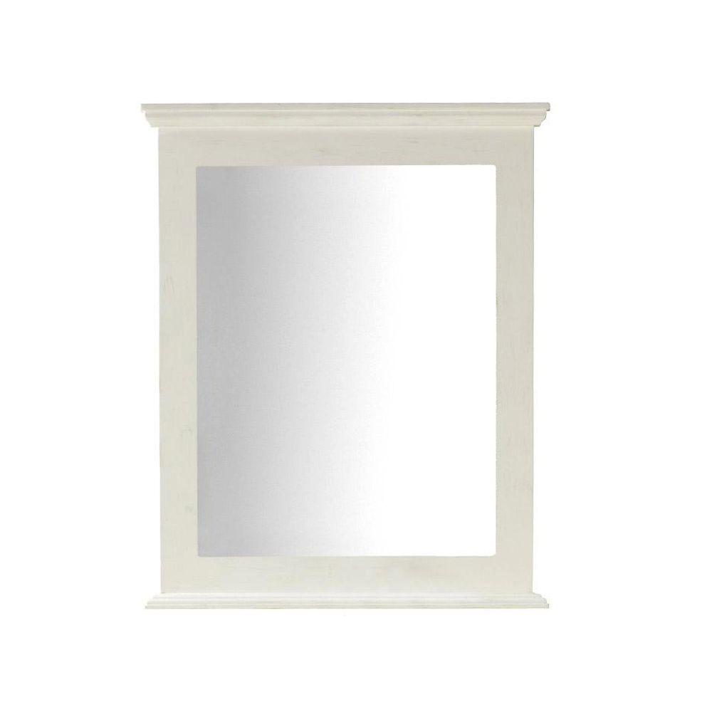 Home Decorators Collection Haven 31 in. L x 25 in. W Framed Wall Mirror in Antique White-DISCONTINUED