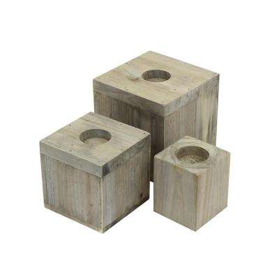 4.78 in. x 5 in. Candle 3-Cube Organizer in Weathered Gray (3-Pack)