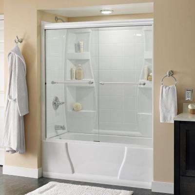 Silverton 60 in. x 58-1/8 in. Semi-Framed Sliding Tub Door in White with Droplet Glass and Chrome Handle
