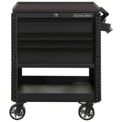 Professional 33 in. Deluxe 4-Drawer Tool Utility Cart with Bumpers in Matte Black
