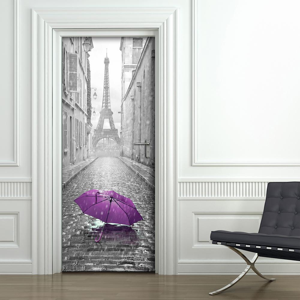 82.6 in. x 32.6 in. Grey Eiffel Tower Door Cover Applique